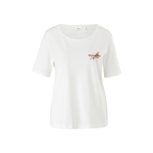 Jerseyshirt mit Schmuckperlen - T-Shirt