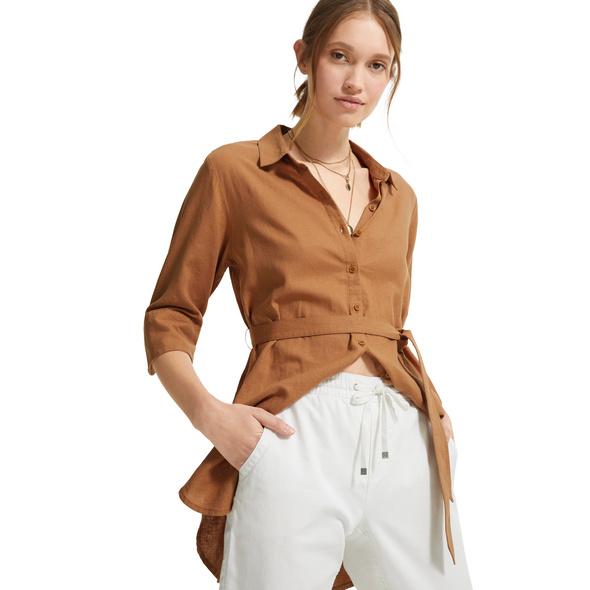 Longbluse mit Bindegürtel - Leinenmix-Bluse