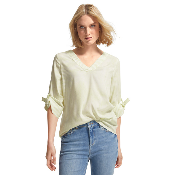 Blusenshirt mit Knoten-Detail - Jacquard-Bluse