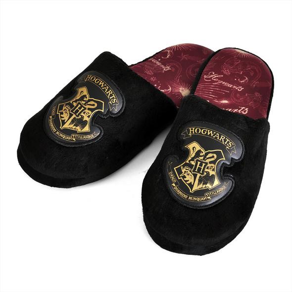 Harry Potter - Hogwarts Wappen Plüsch Pantoffeln schwarz