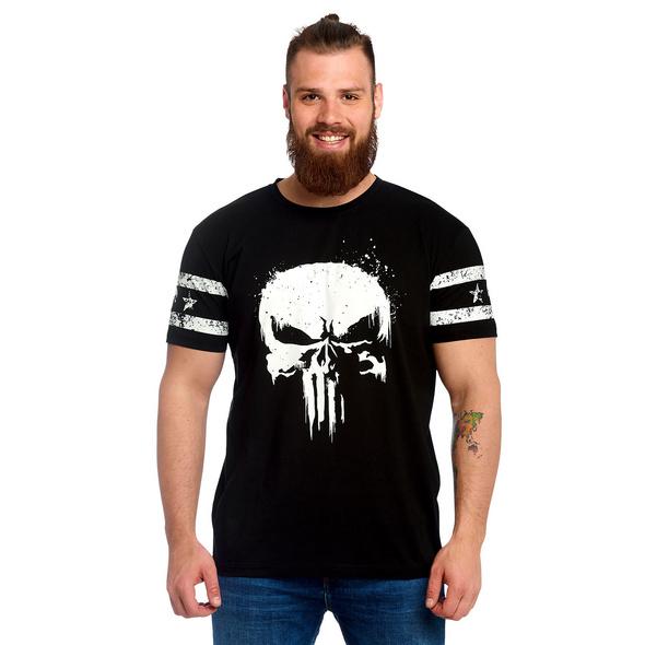 Punisher - Skull Logo T-Shirt mit Ärmelprint schwarz
