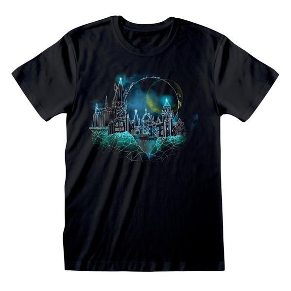 Harry Potter - Hogwarts at Night Sketch T-Shirt schwarz