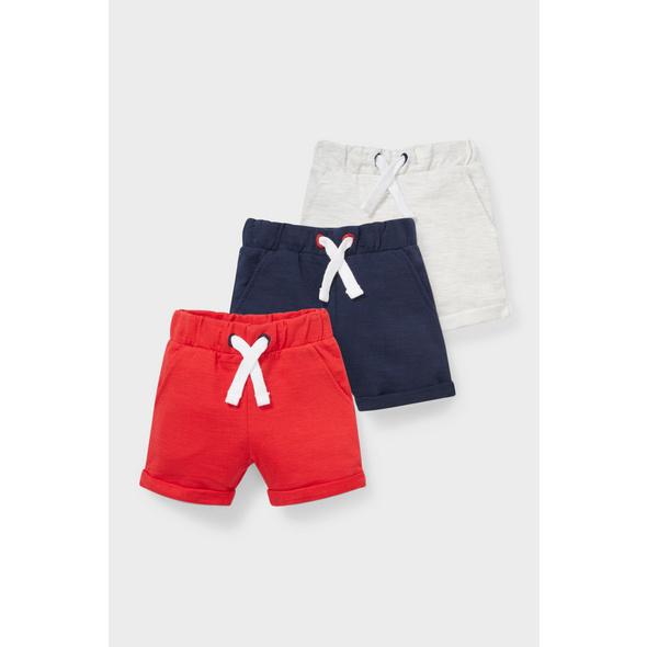 Multipack 3er - Baby-Sweatshorts - Bio-Baumwolle