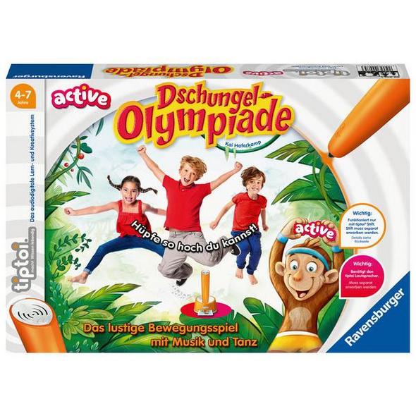 Ravensburger tiptoi® ACTIVE Spiel 00075, Dschungel-Olympiade, Bewegungsspiel ab 4 Jahre für 1-6 Spieler