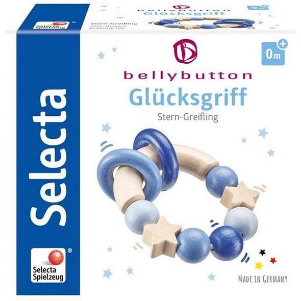 Selecta 64010 - bellybutton, Glücksgriff, Stern-Greifling, Holz, blau, 7,5 cm
