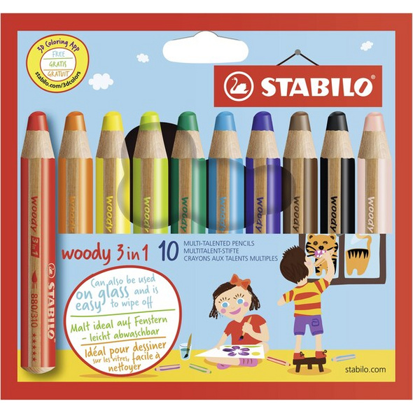 STABILO Buntstifte woody 3in1, 10er Set