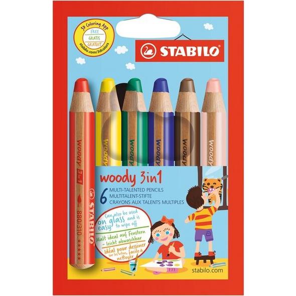 STABILO woody 3 in 1 - 6er Pack