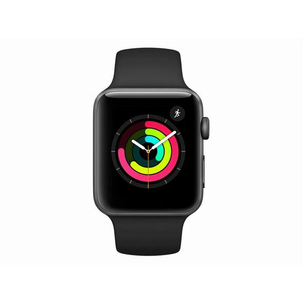 Apple Watch Series 3, 38 mm, Aluminiumgehäuse space grau, Sportarmband schwarz