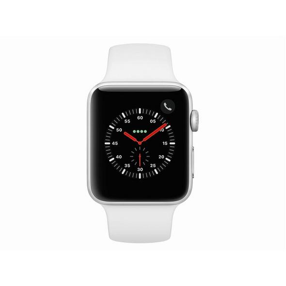 Apple Watch Series 3, GPS & Cellular, 42 mm Alu. silber, Sportarmband weiß