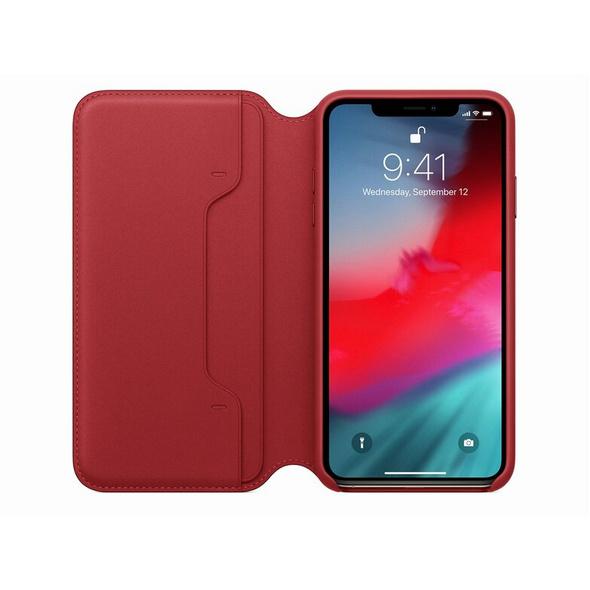 Apple Leder Folio Case, für iPhone XS, (PRODUCT)RED rot