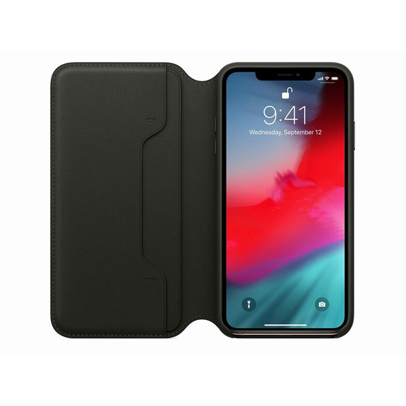 Apple Leder Folio Case, für iPhone XS, schwarz