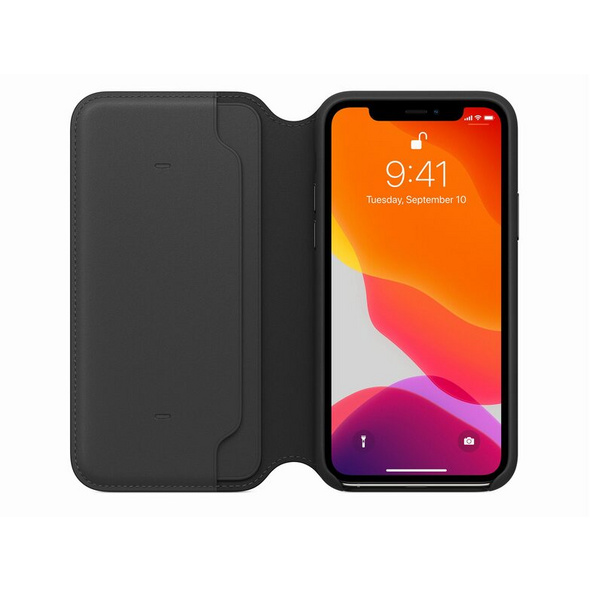 Apple Leder Folio Case, für iPhone 11 Pro, schwarz