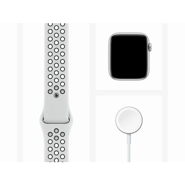 Apple Watch Nike SE, 44 mm, Aluminium silber, Sportarmband platinum/schwarz