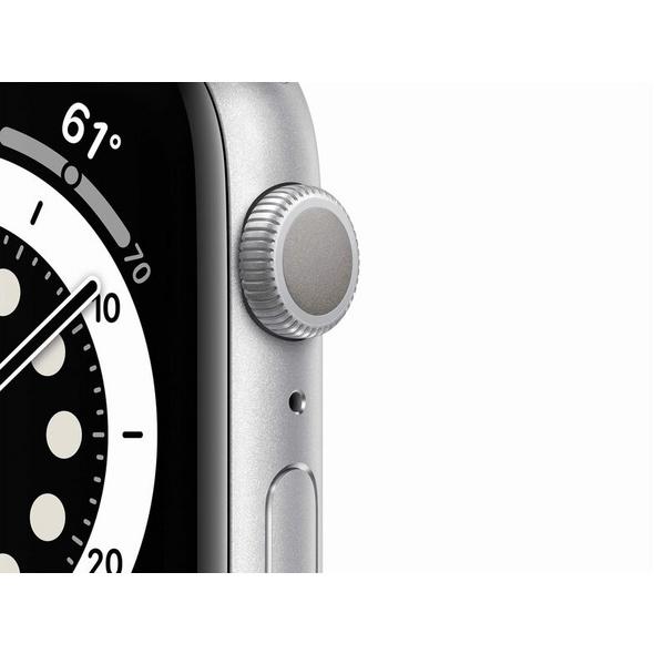 Apple Watch Series 6, 44mm, Aluminum silber, Sportarmband weiß