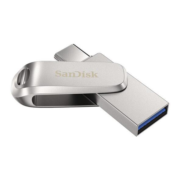 SanDisk Ultra Dual Drive Luxe, 128 GB Flash-Laufwerk, USB-C/USB-A 3.1, silber