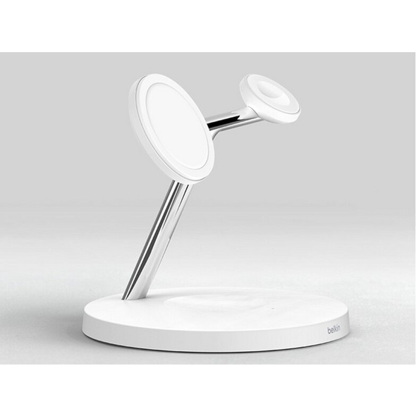 Belkin Boost Charge, drahtloses 3-in-1-Ladegerät mit MagSafe, 15 W, weiß