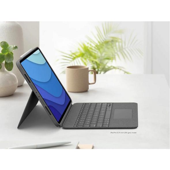 """Logitech Combo Touch, Tastatur-Case mit Trackpad f. iPad 12,9"""", QWERTZ, grau"""