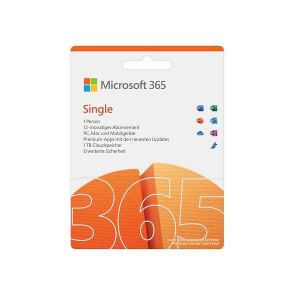 Microsoft Office 365 Single 2021, 1-Jahres-Software-Lizenz, Key Card