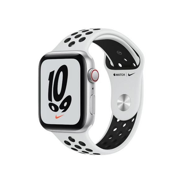 Apple Watch Nike SE, GPS & Cellular, 44 mm, Alu. silber, Sportb. platin./schwa.