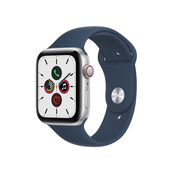 Apple Watch SE, GPS & Cellular, 44 mm, Alu. silber, Sportarmband abyssblau
