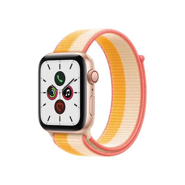 Apple Watch SE, GPS & Cellular, 44 mm, Aluminium gold, Sportloop gelb/weiß