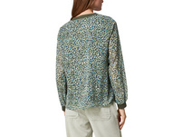 Musterbluse mit Ripp-Details - Chiffonbluse