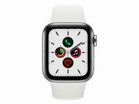 Apple Watch Series 5, GPS & Cellular, 40mm, Edelstahl silber, Sportarmband weiß