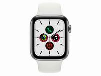 Apple Watch Series 5, GPS & Cellular, 44mm, Edelstahl silber, Sportarmband weiß