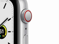 Apple Watch SE, GPS & Cellular, 44 mm, Aluminium silber, Sportarmband weiß
