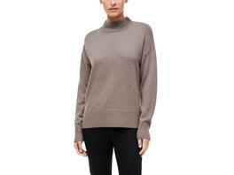 Wollmix-Pullover mit Schmuck-Detail - Pullover