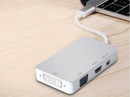 Networx USB-C Hub, Adapter auf HDMI/DVI/VGA/Mini DP, silber