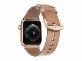 Nomad Slim Strap, Armband für Apple Watch 38/40 mm, Leder, gold-hellbraun