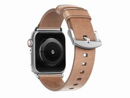 Nomad Slim Strap, Armband für Apple Watch 38/40 mm, Leder, silber-hellbraun