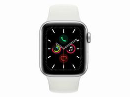 Apple Watch Series 5, 40 mm, Aluminiumgehäuse silber, Sportarmband weiß