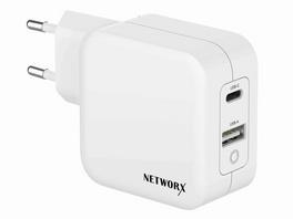 """Networx USB-C Dual Netzteil, f. MacBook 13"""", USB-C PD 65W/USB-A 12W, GaN, weiß"""