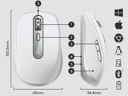 Logitech MX Anywhere 3, kabellose Maus, 6 Tasten, graphite