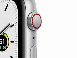 Apple Watch SE, GPS & Cellular, 44 mm, Aluminium silber, Sportarmband weiß