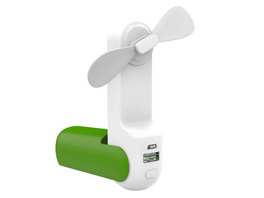 Networx 3-in-1-Ventilator, USB-Ventilator, Powerbank 2.000 mAh, Lampe, grün