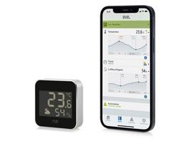 Eve Weather, smarte Wetterstation, Apple HomeKit, Thread, schwarz/silber