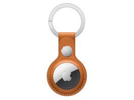 Apple AirTag Schlüsselanhänger, aus Leder, goldbraun